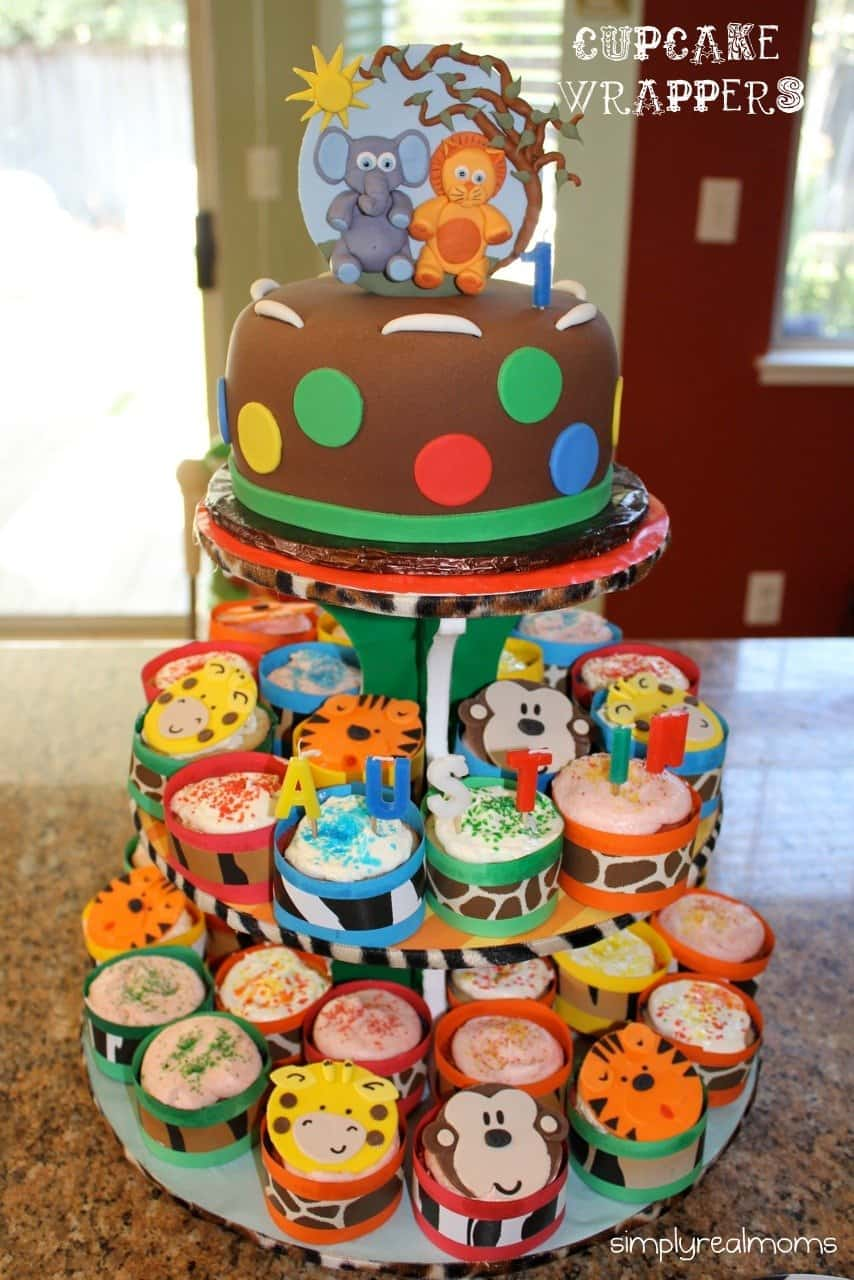 Jungle Themed Party- DIY Cupcake Wrappers & Cupcake Stand - Simply ...