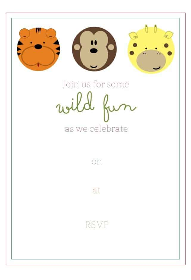 Free jungle birthday party invitaton and party favor tags simply free jungle birthday party invitaton and party favor tags stopboris Choice Image