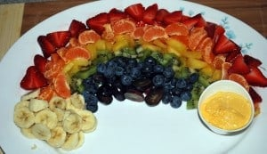rainbow image 300x173 St. Patricks Day Healthy Snack: Rainbow with a Pot of Gold!