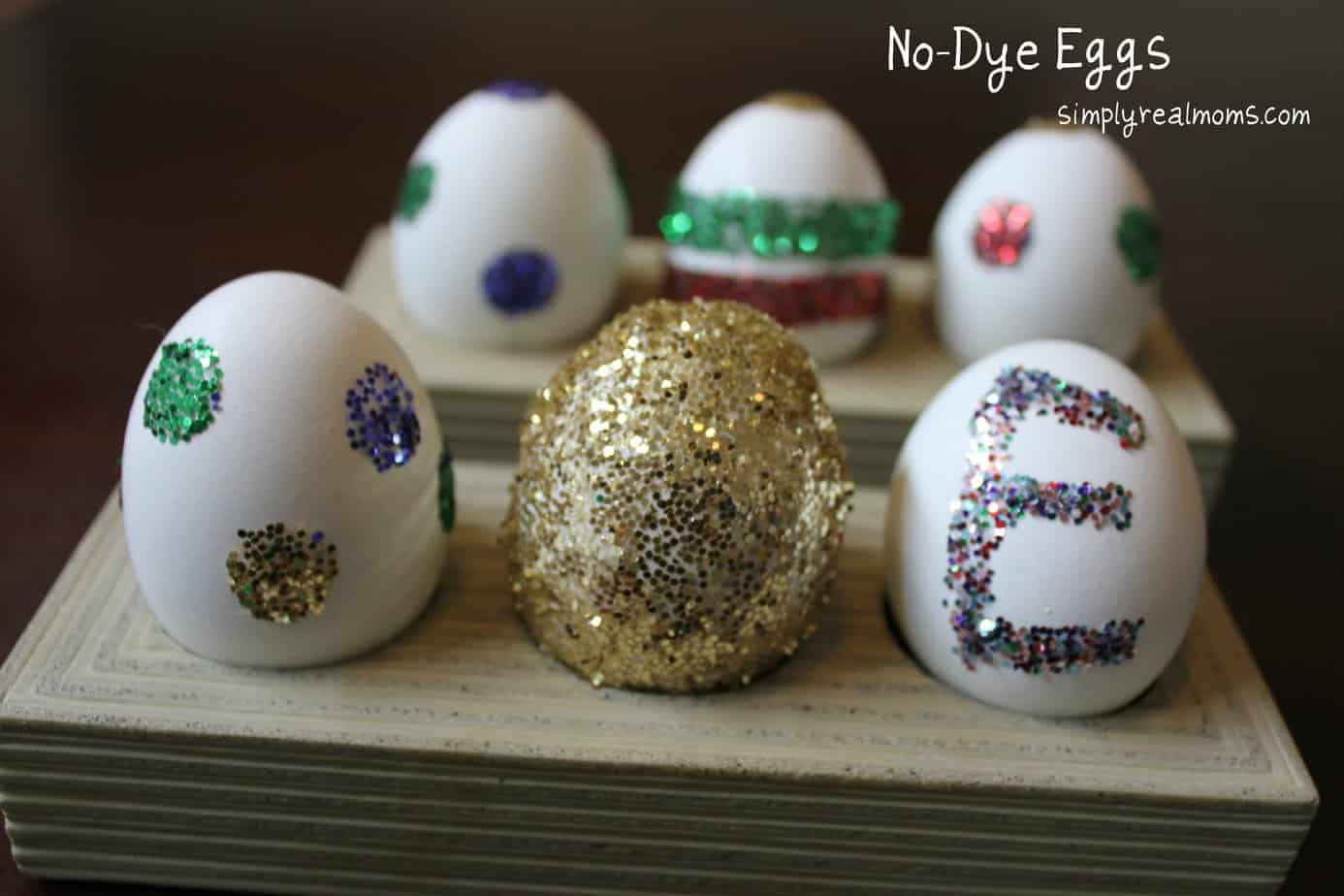 No-Dye Easter Eggs: Glitter Polka Dots and Stripes 1