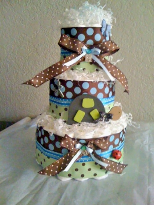 Turtle Diaper Cake 500x666 Turtle Themed Baby Shower