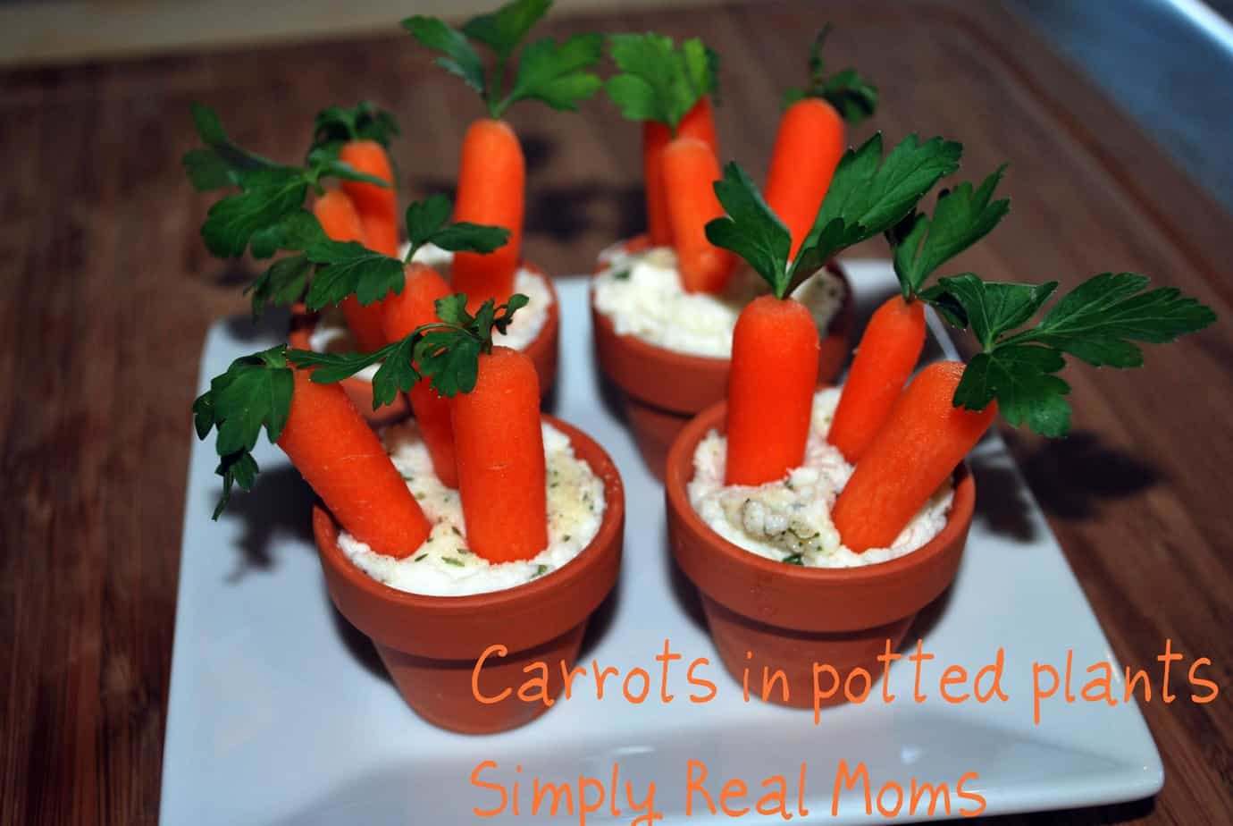 easter appetizer for kids: potted carrots and dip!