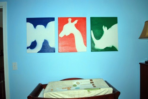 AnimalArt final 500x334 DIY Childrens Nursery Art: Spray Painted Animals