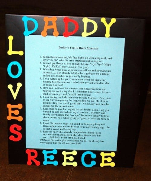 Diy Fathers Day Memory Frame
