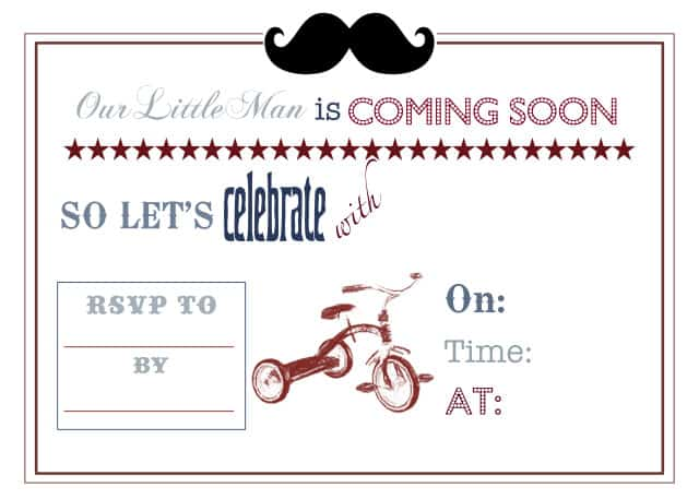 Little Man Printable Invite 640x457 Vintage Little Man Themed Baby Shower