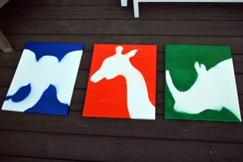 animalsfinal 500x334 DIY Childrens Nursery Art: Spray Painted Animals
