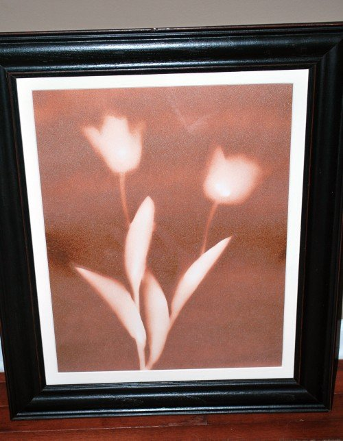 framed flower option 500x644 DIY Spray Paint Flower Art—Easy AND Cheap!