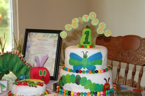 Very Hungry Caterpillar birthday party food ideas cake and smash cake L O V E 500x333 The Very Hungry Caterpillar Birthday Bash Food!