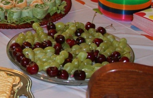 Very Hungry Caterpillar birthday party food ideas grape and cherry caterpillar kabobs 500x321 The Very Hungry Caterpillar Birthday Bash Food!