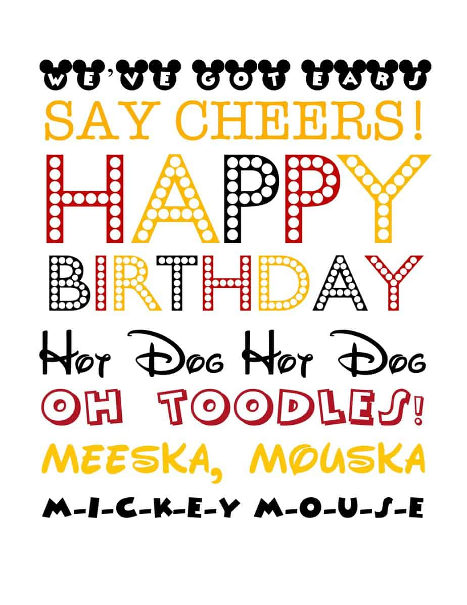 photo relating to Free Printable Mickey Mouse Signs named Totally free Mickey Mouse-Themed Birthday Printable