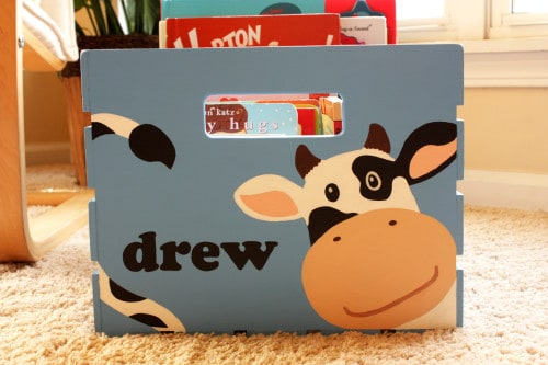 cow box1 500x333 Giveaway: Busy Bug Boxes—A 100% Handmade and Personalized Storage Crate for your Child!