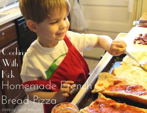Cooking with kids-making homemade french bread pizza! So easy and fun.
