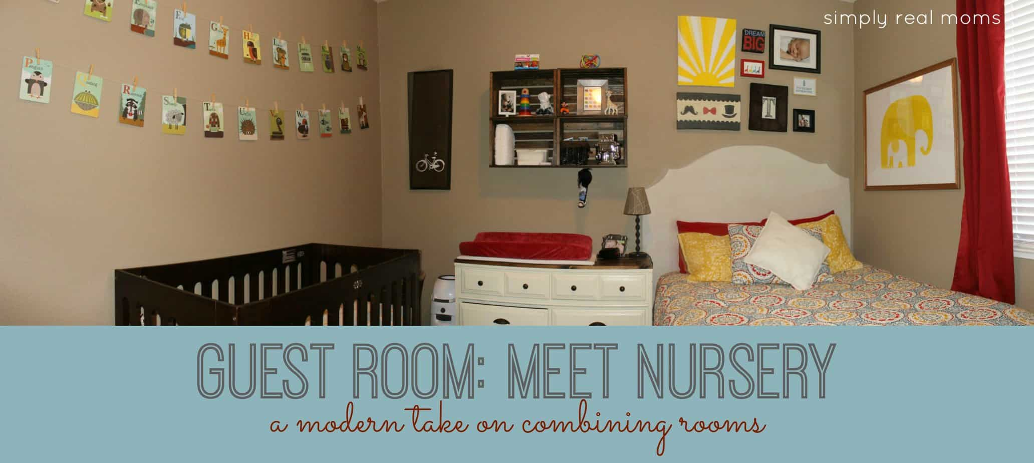 Combining a modern nursery with a guest room for Master bedroom with attached nursery