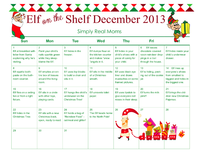 FREE Elf on the Shelf Month Long Printable!