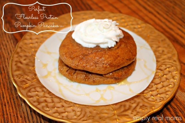 Perfect Flourless Protein Pumpkin Pancakes from Simply Real Moms