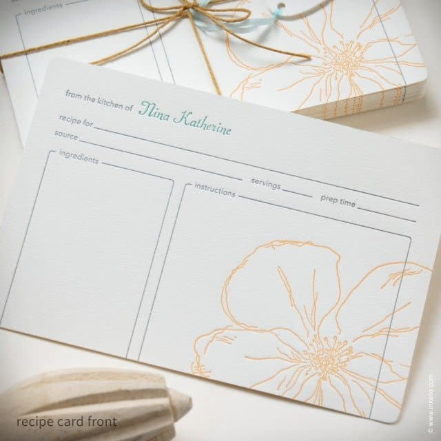 Snow Drop Anemone Personalized Recipe Cards