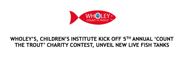 Kids count the trout at wholey 39 s for charity for Wholey s fish market