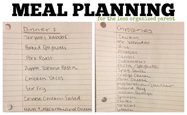 Meal Planning for the less organized