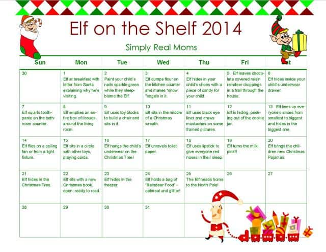 FREE PRINTABLE Elf on a Shelf 2014 from Simply Real Moms - Copy