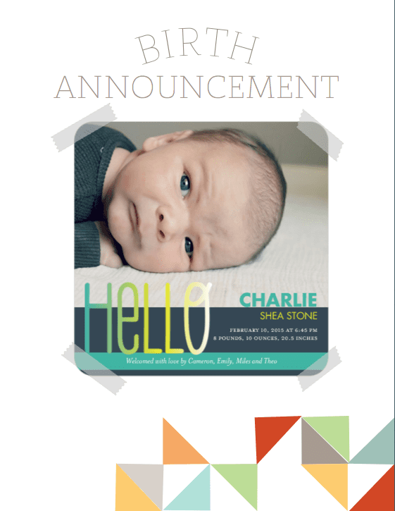 printable birth announcements free