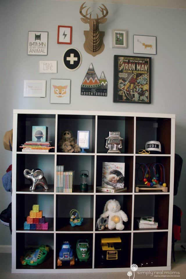Modern Kid's Gallery Wall & Bookshelf