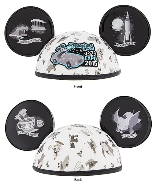 This exclusive Mickey ear hat features a retro design of Disneyland attraction on the front and back of both ears. It will be available at the D23 Expo for $19.95.