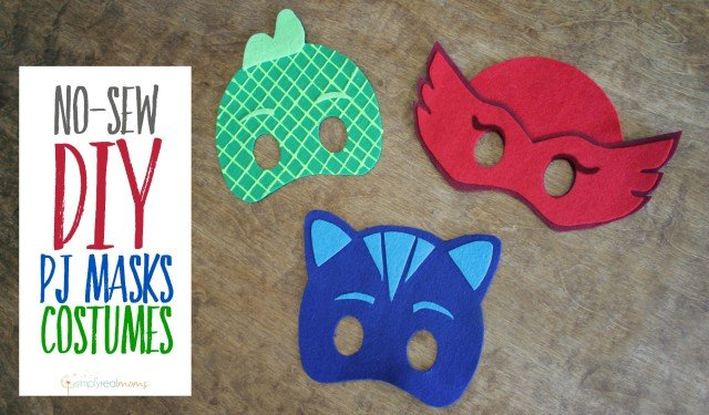 graphic about Pj Masks Mask Printable titled No Sew Do-it-yourself PJ Masks Costumes