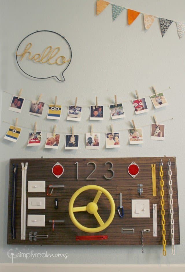 Busy Board in a kids'playroom