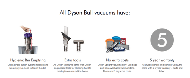 Dyson standard features
