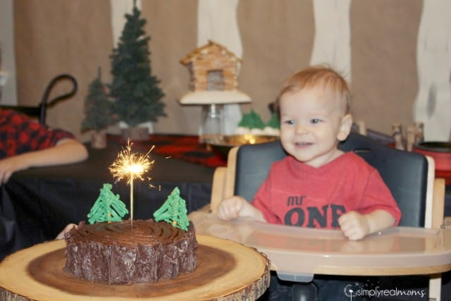 Lumberjack Party Cake with Sparkler Candle