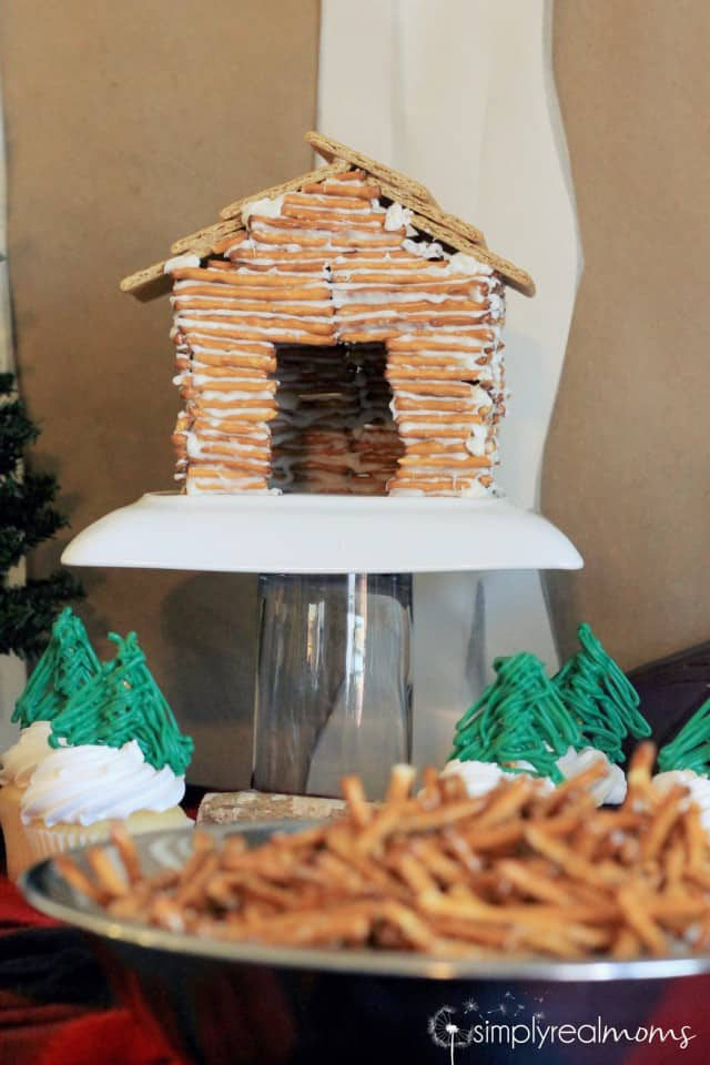 Lumberjack Party Pretzel Log Cabin