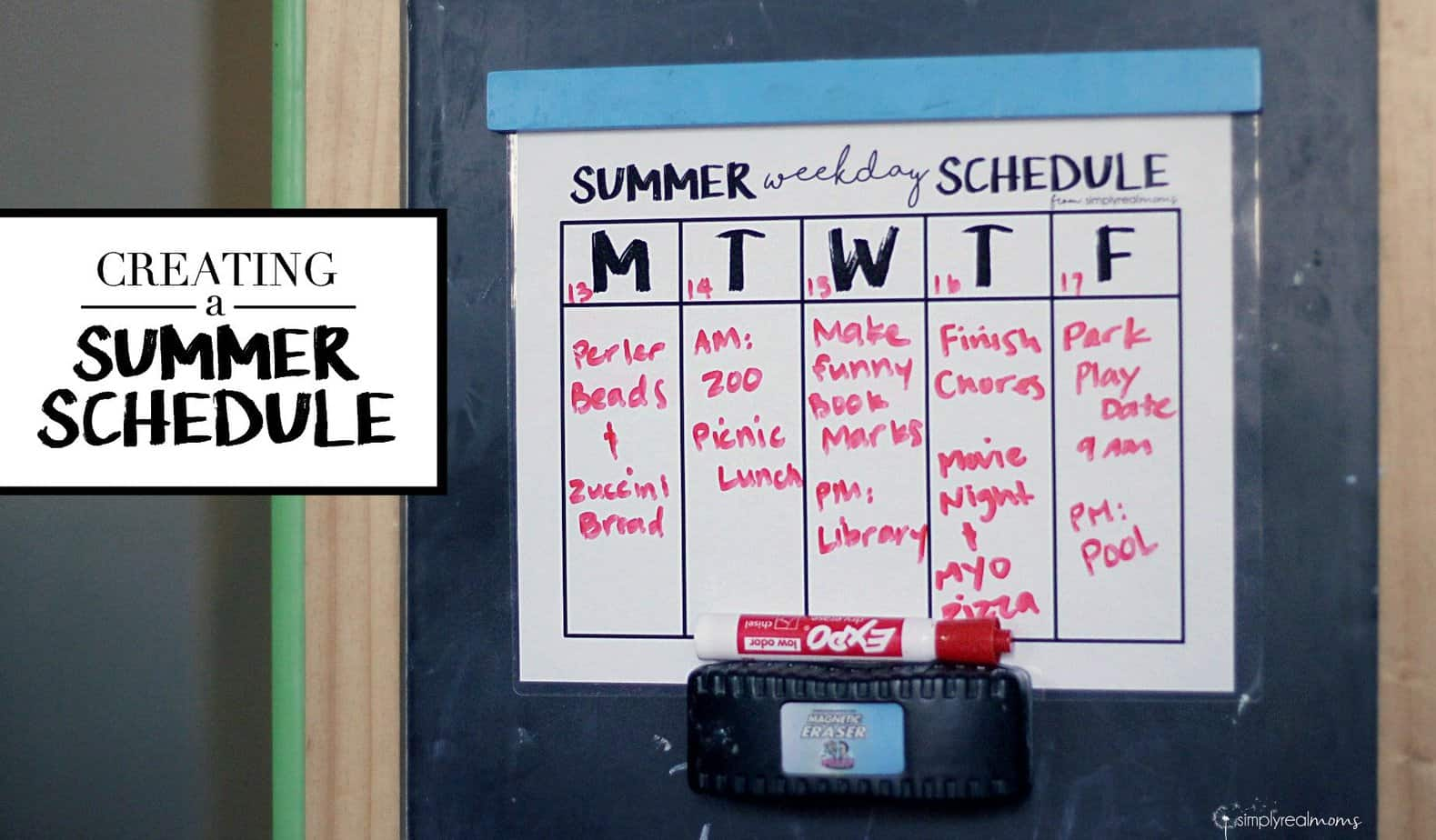 Creating a Summer Schedule