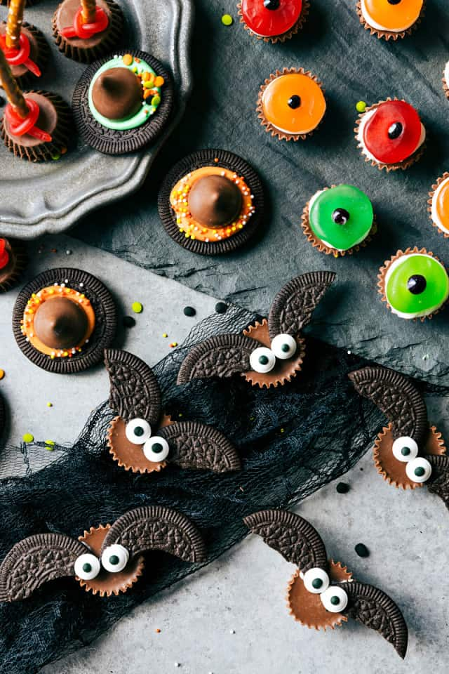 bat-bites-easy-cute-festive-and-fun-to-make-halloween-treats-each-with-three-ingredients-or-less-monster-eyeballs-witches-hats-witches-brooms-and-bat-bites