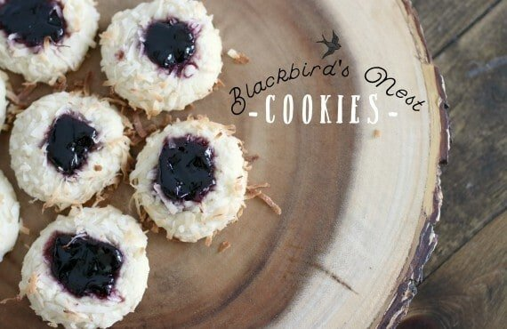 Blackberry Coconut Thumbprint Cookies