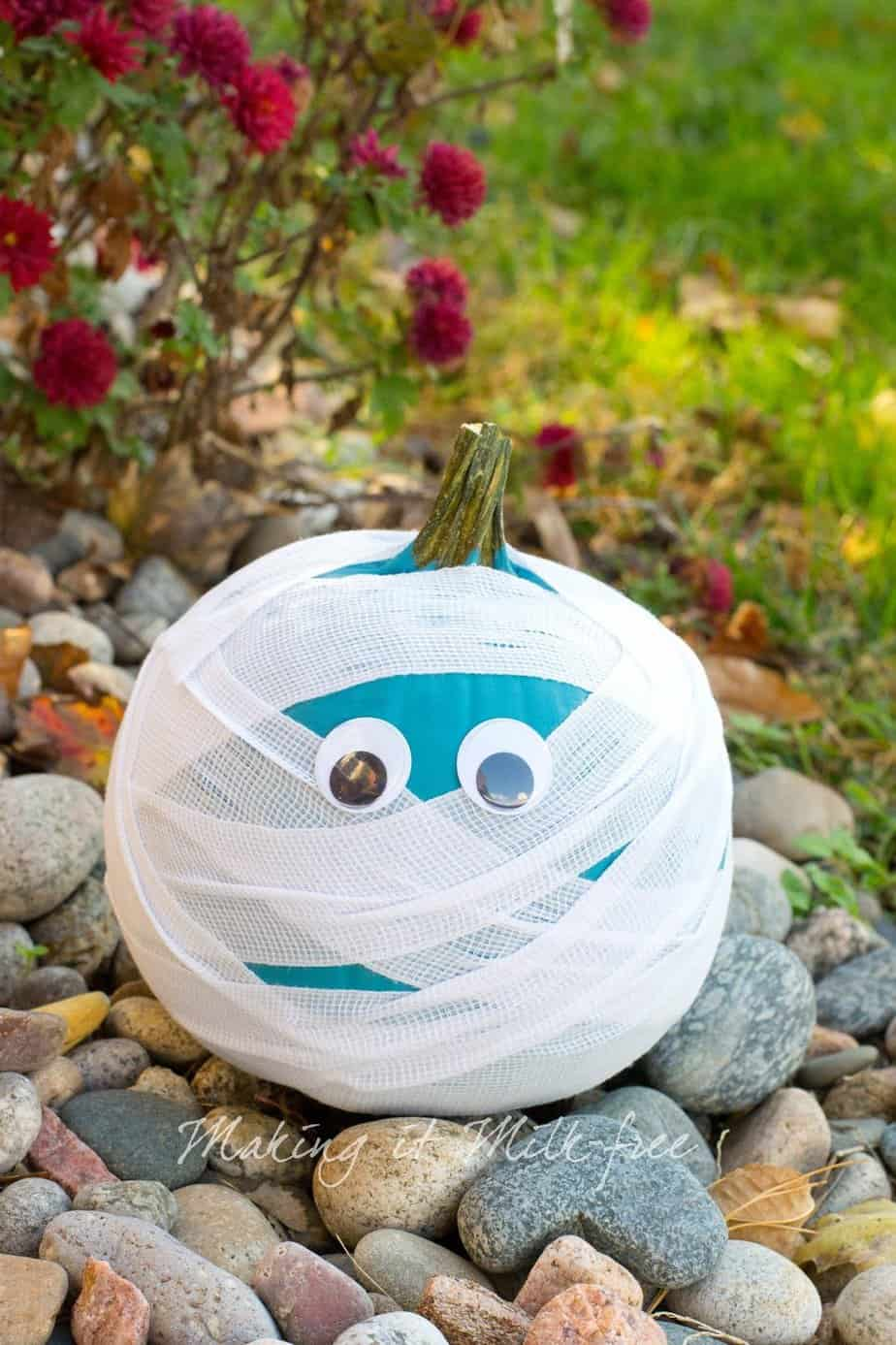 Teal Mummy Pumpkin for Halloween by Making it Milk-free