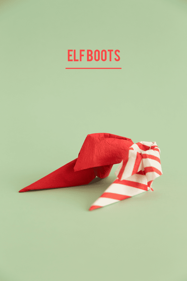 Folded Elf Shoe Christmas Napkins