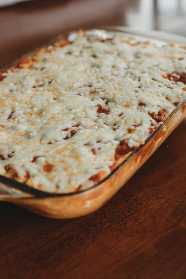 Hot Cheesy Baked Spaghetti