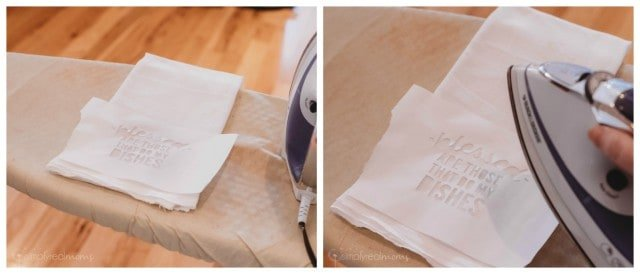 Iron on stencil to screen print towels