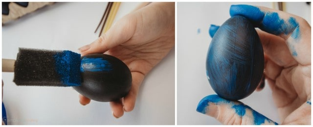 Painting Galaxy Easter Eggs