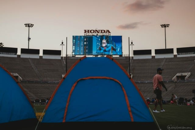 Outdoor movie night at the Rose Bowl