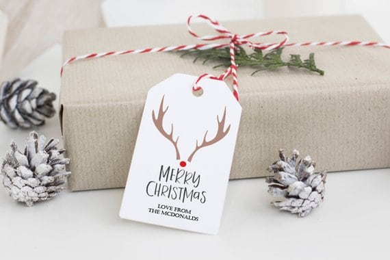 Minimalist Rudolph Gift Tags
